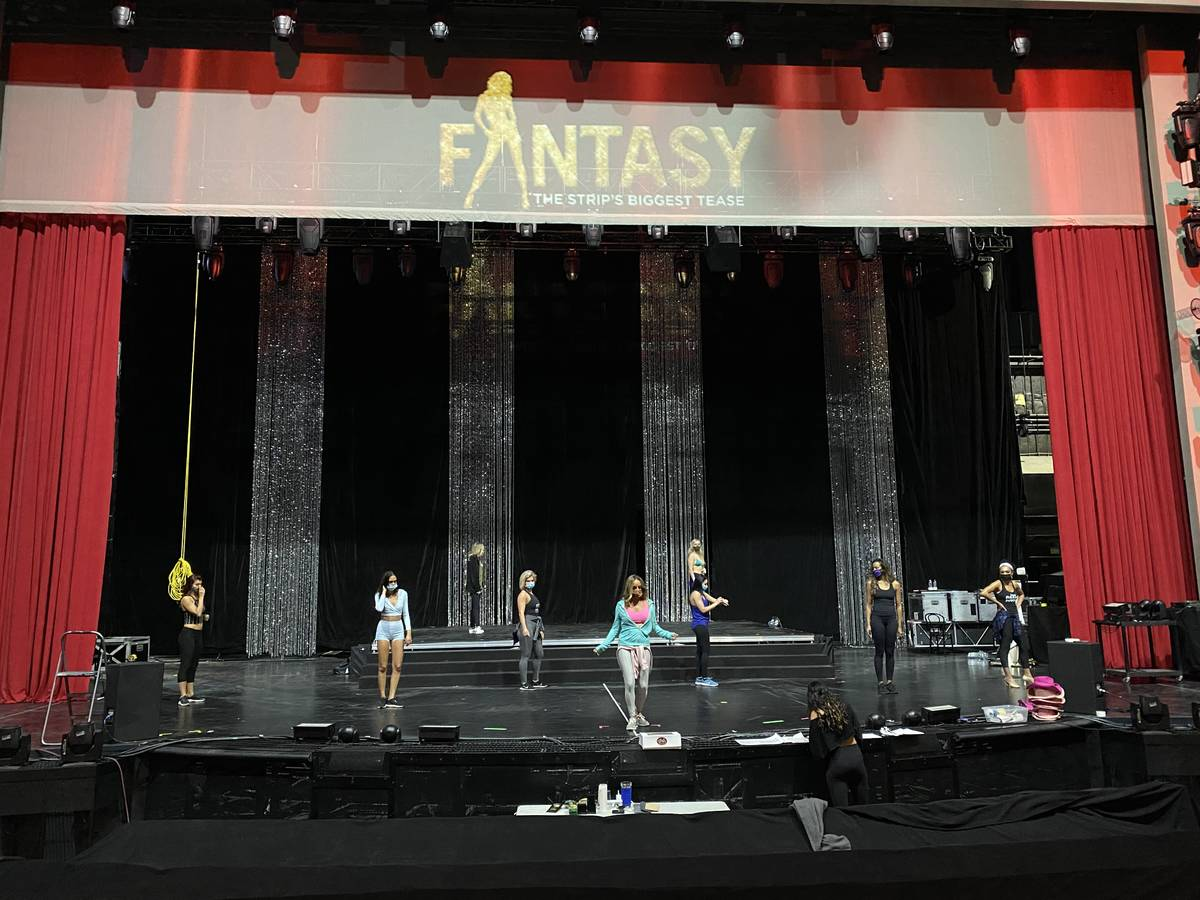 "A look at a rehearsal of ""Fantasy,"" which has moved from 350-capacity Atrium Showroom to 1,500- ..."