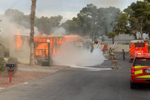 Las Vegas firefighters responded to a fire in a mobile home in east Las Vegas early Monday, Nov ...