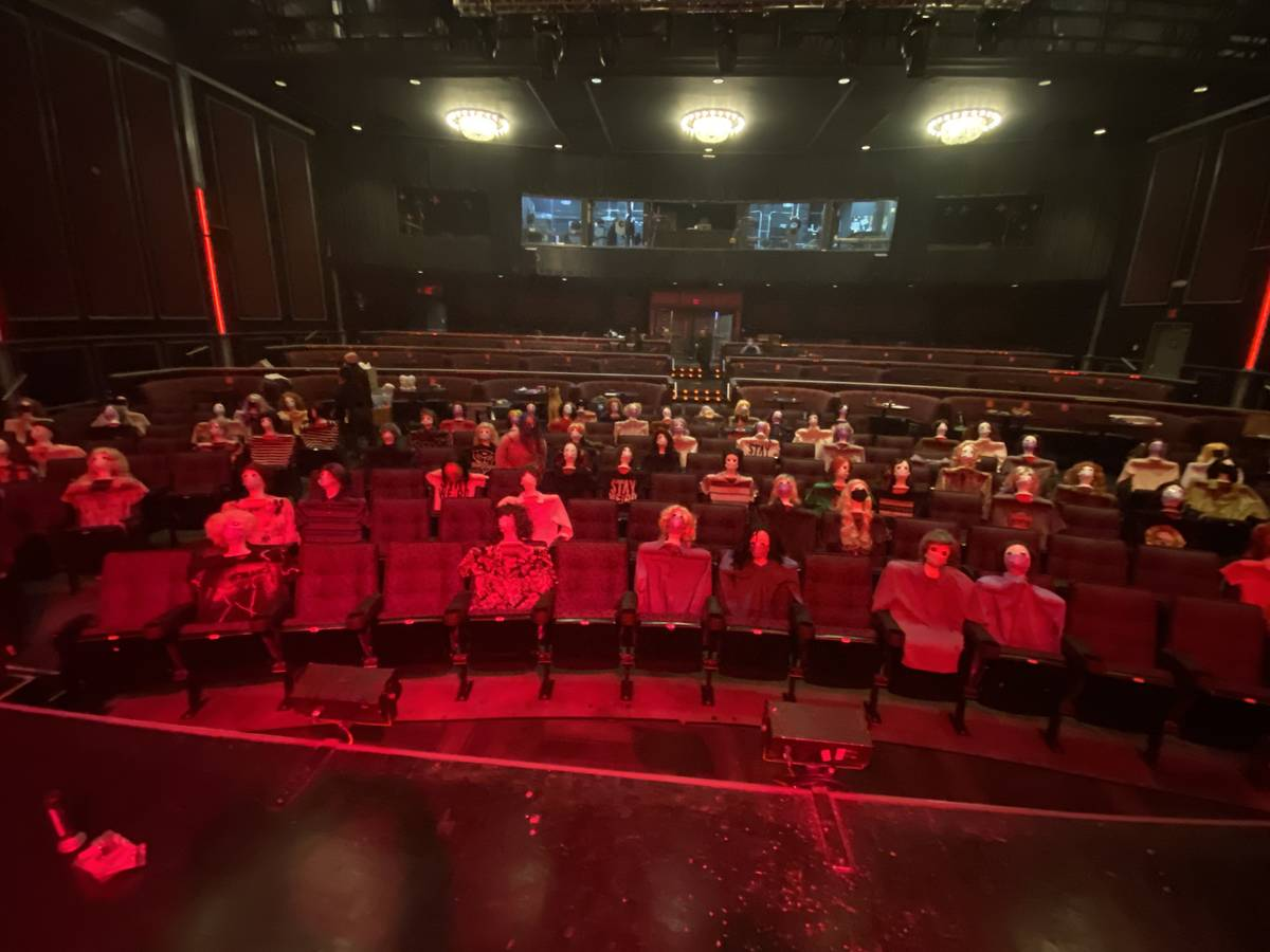 An audience of mannequin heads seated for Tape Face's show at Harrah's Showroom is shown on Sat ...