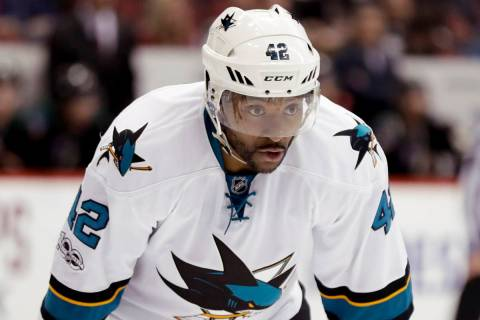 In this Feb. 18, 2017, file photo, San Jose Sharks right wing Joel Ward lines up against the Ar ...
