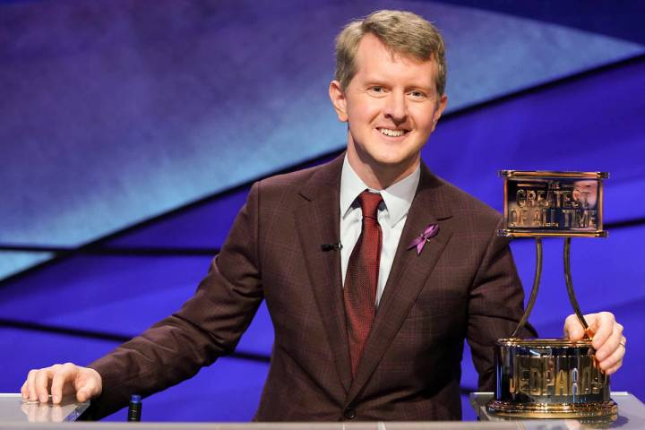 """This image released by ABS shows contestant Ken Jennings with a trophy on """"JEOPARDY! The G ..."""