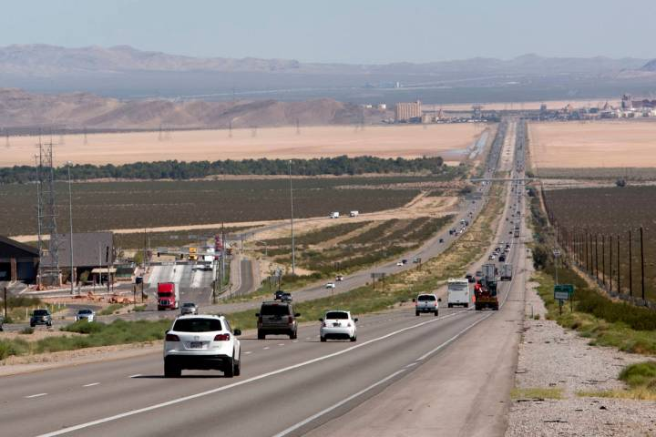 Traffic is seen on Interstate 15 in Southern California, about seven miles south of Primm, in t ...