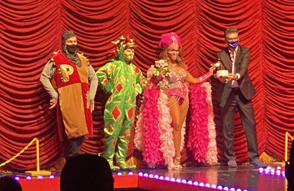 Piff the Magic Dragon and crew. (John Katsilometes/Las Vegas Review-Journal) @JohnnyKats