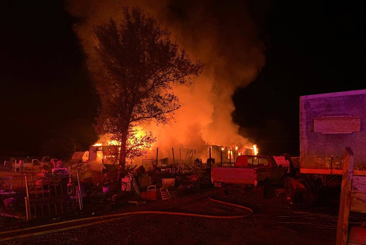 "One person was taken to a hospital after a ""large structure"" fire in Pahrump on Tuesday, Nov. 2 ..."