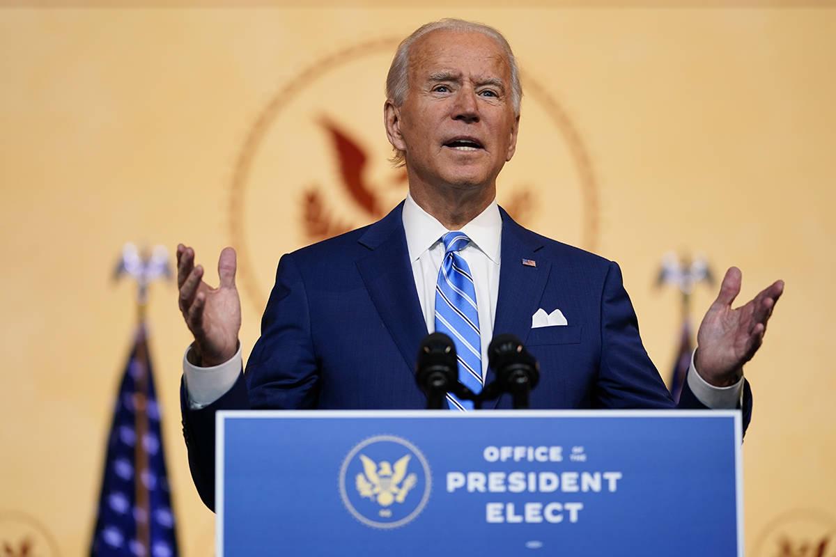 President-elect Joe Biden speaks Wednesday, Nov. 25, 2020, in Wilmington, Del. (AP Photo/Caroly ...
