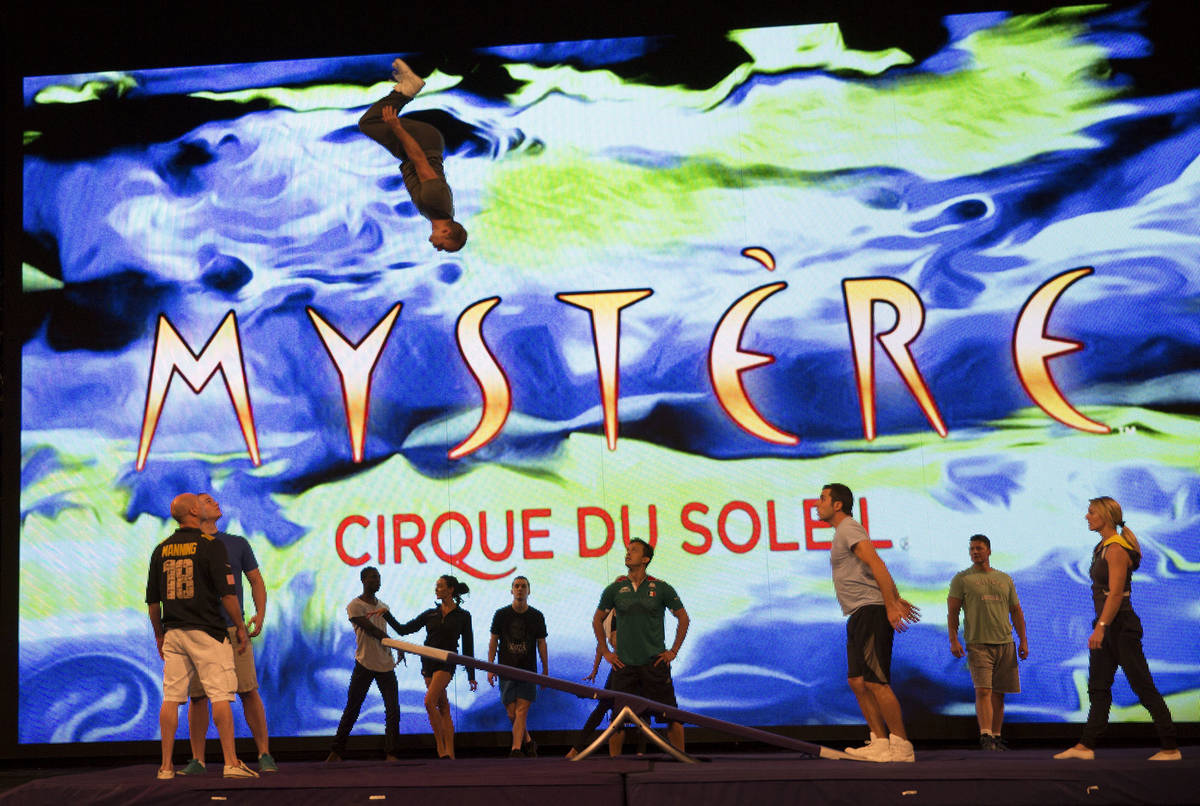 Artists from Cirque du Soleil rehearse for a special performance at Life is Beautiful set for S ...