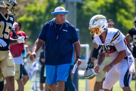 In this Thursday, Aug. 15, 2019, file photo, Los Angeles Chargers special teams coach George St ...