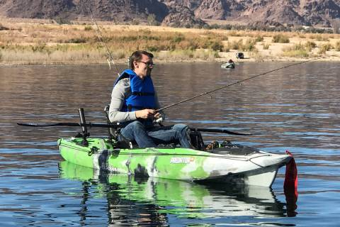 An angler recently enjoys a day of fishing at Lake Mead, a pastime that has seen an upsurge in ...