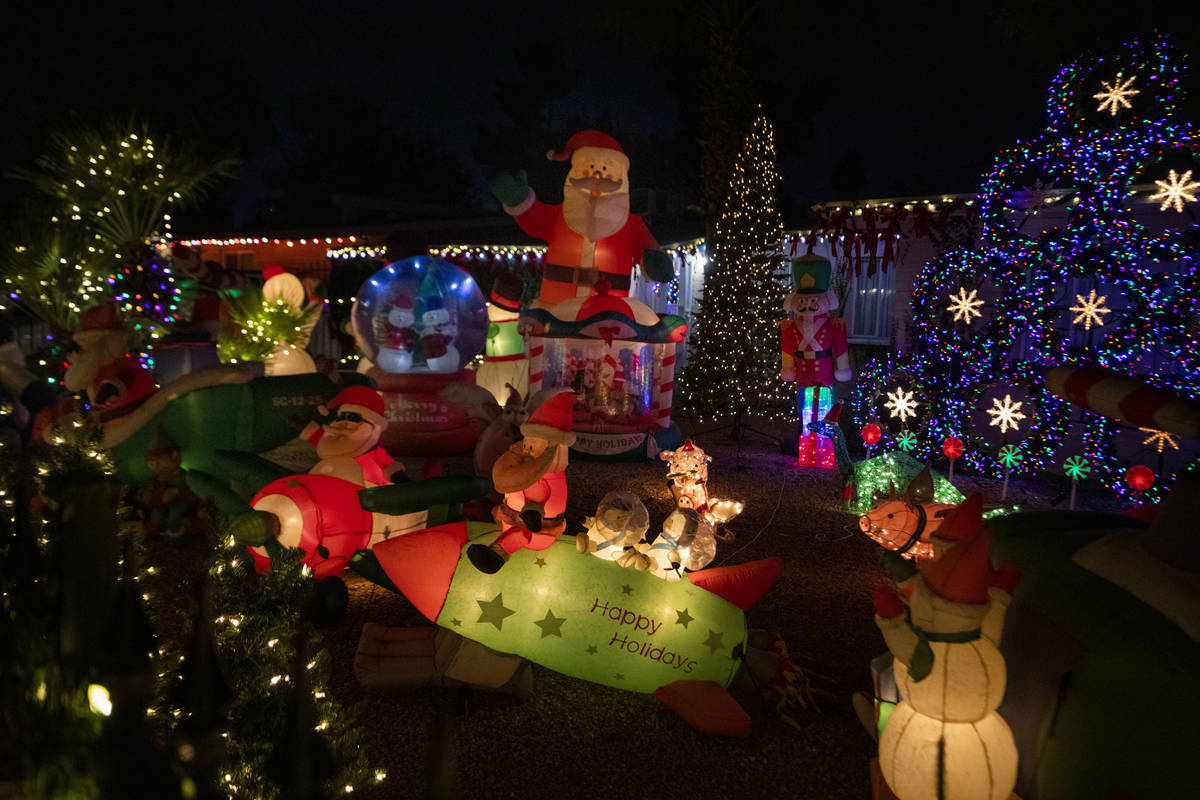 A house on East Houston Drive is decorated for the season and listed on the Parents of Las Vega ...
