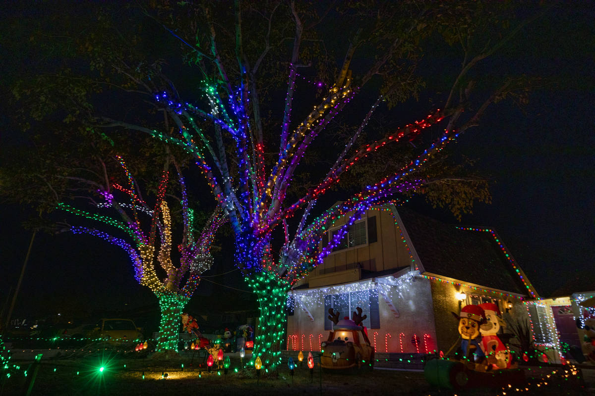 A house located on East Oakey Blvd. is seen decorated for the season on Thursday, Dec. 3, 2020. ...