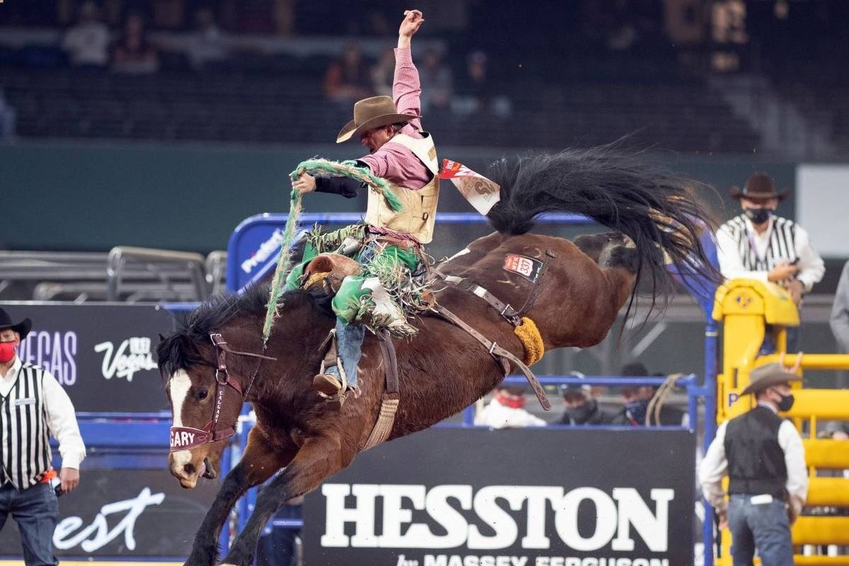 Allen Boore performs during the 3rd go-round of the National Finals Rodeo in Arlington, Texas, ...