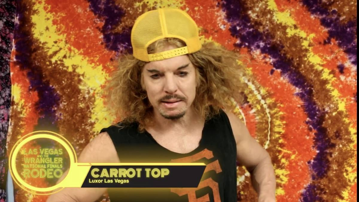 Luxor headliner Carrot Top is shown in a screen grab in a Las Vegas Events vidoe promoting the ...
