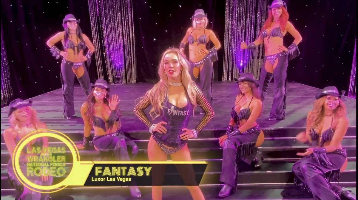 Members of the cast of the adult revue Fantasy at Luxor are shown in a screen grab in a Las Veg ...