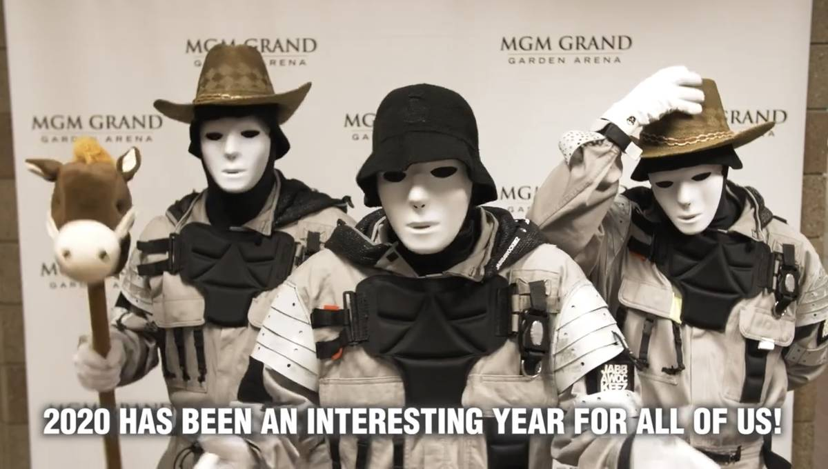 MGM Grand headlining dance troupe the Jabbawockeez is shown in a screen grab in a Las Vegas Eve ...