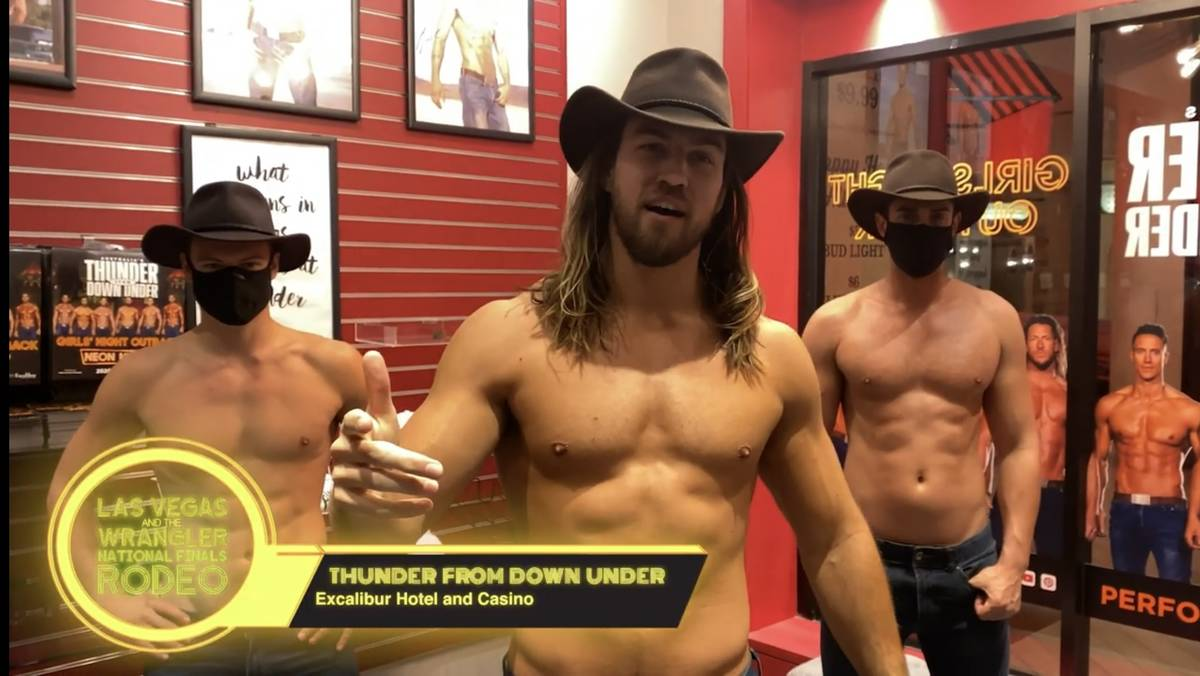 Members of Excalibur adult revue Thunder from Down Under are shown in a screen grab in a Las Ve ...