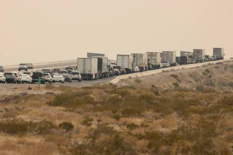 Southbound Interstate 15 traffic builds at mile marker 5 north of Primm on Monday, Sept. 7, 202 ...