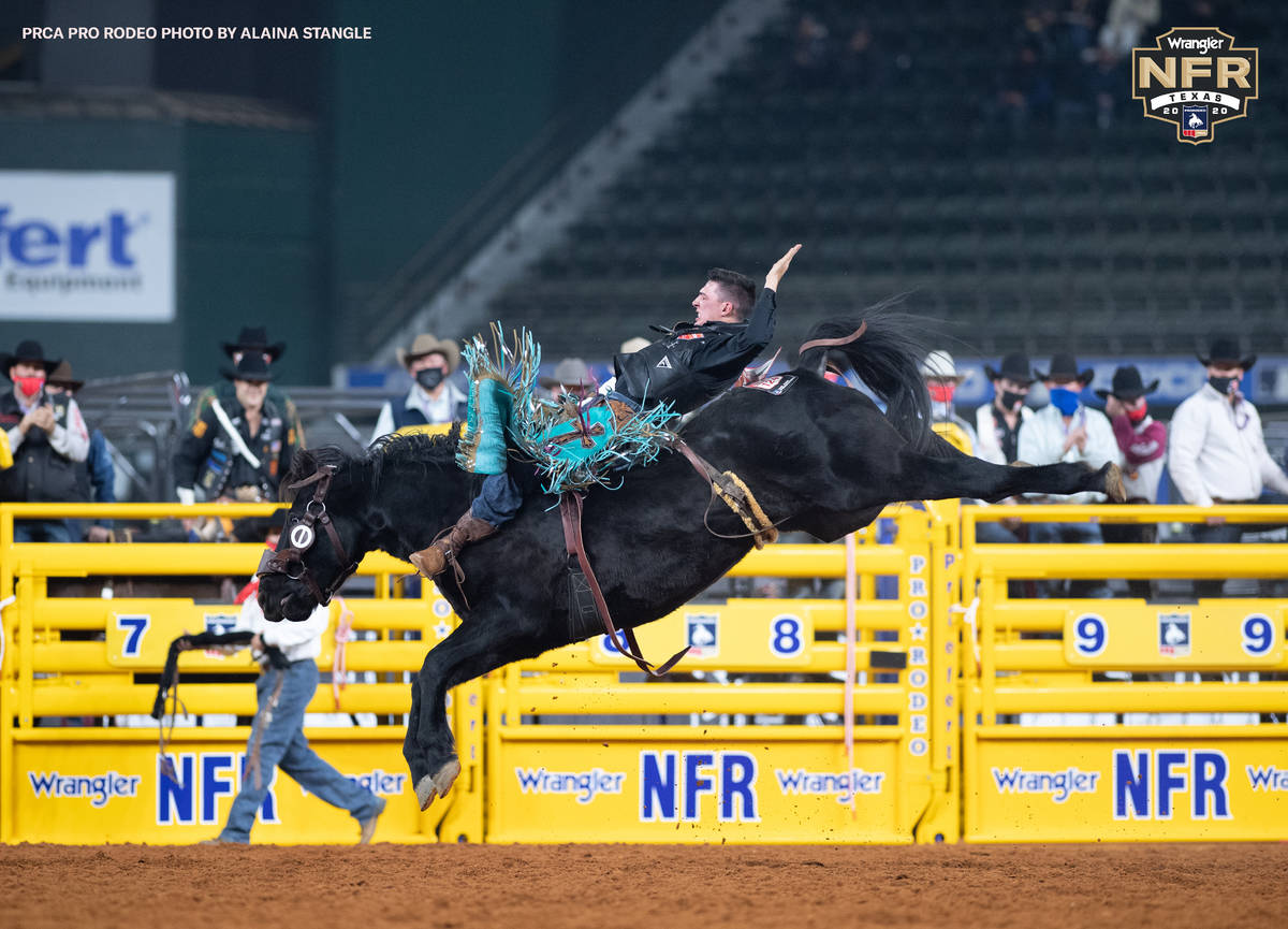 Richmond Champion on Day 2 of the Wrangler National Finals Rodeo at Globe Life Field in Arlingt ...