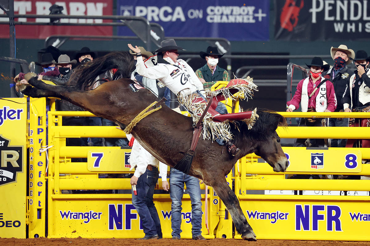 Tim O'Connell on Day 2 of the Wrangler National Finals Rodeo at Globe Life Field in Arlington ...