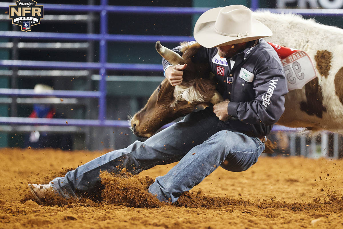 Blake Knowles on Day 2 of the Wrangler National Finals Rodeo at Globe Life Field in Arlington, ...