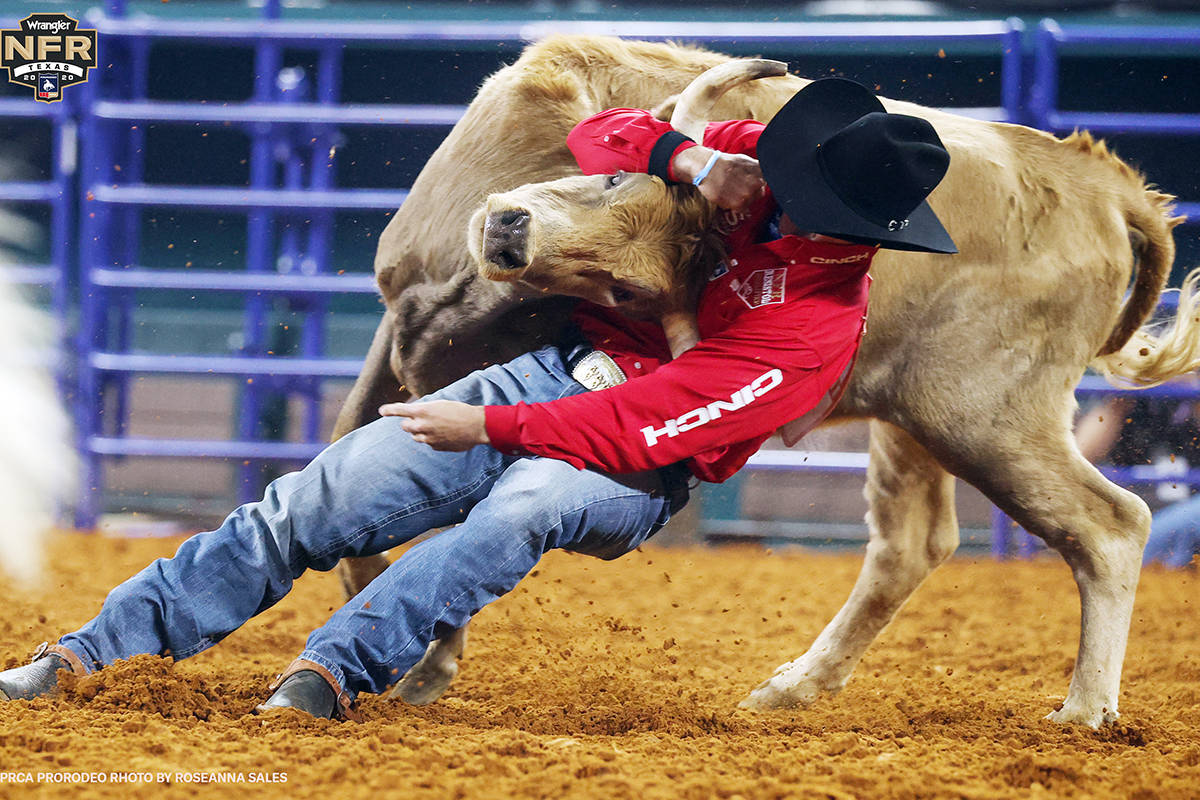 Jesse Brown on Day 2 of the Wrangler National Finals Rodeo at Globe Life Field in Arlington, Te ...