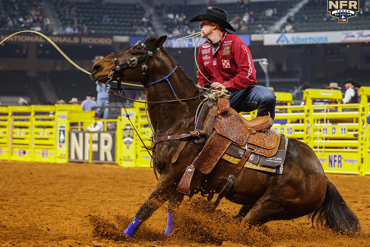 Marty Yates on Day 2 of the Wrangler National Finals Rodeo at Globe Life Field in Arlington, Te ...