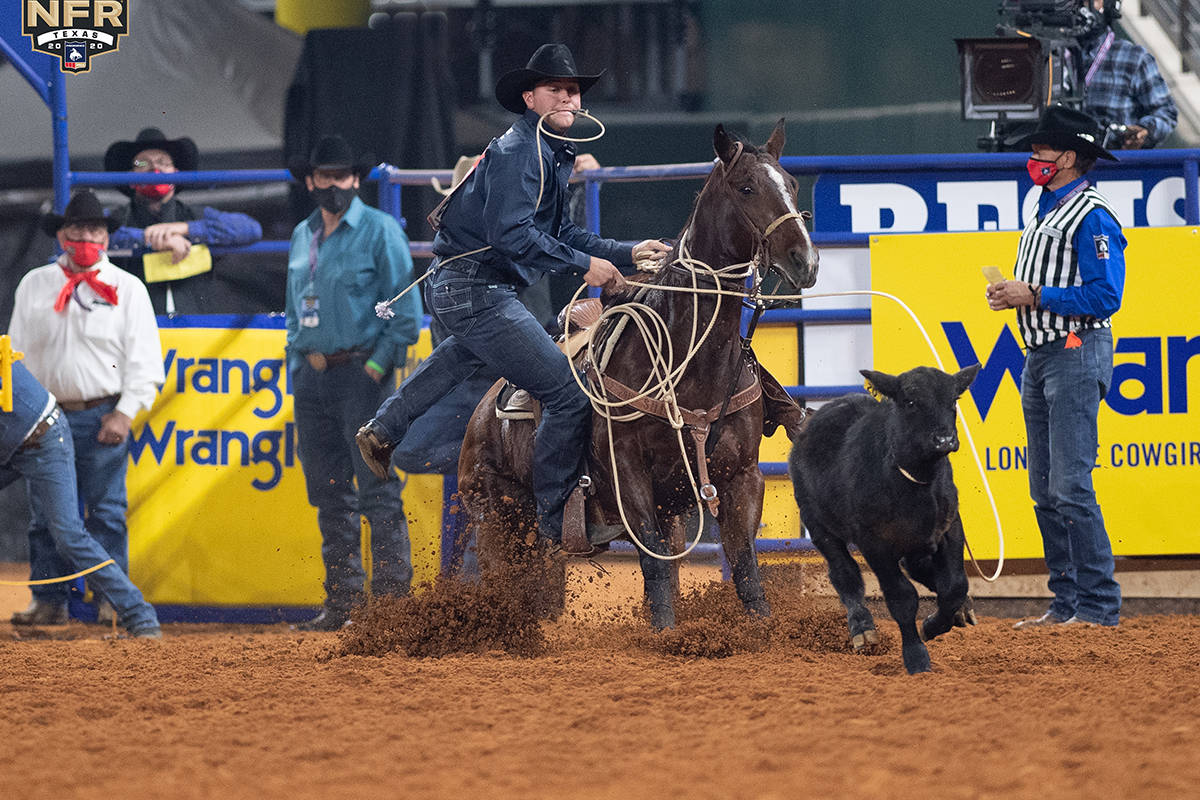 Tyler Milligan on Day 2 of the Wrangler National Finals Rodeo at Globe Life Field in Arlington, ...