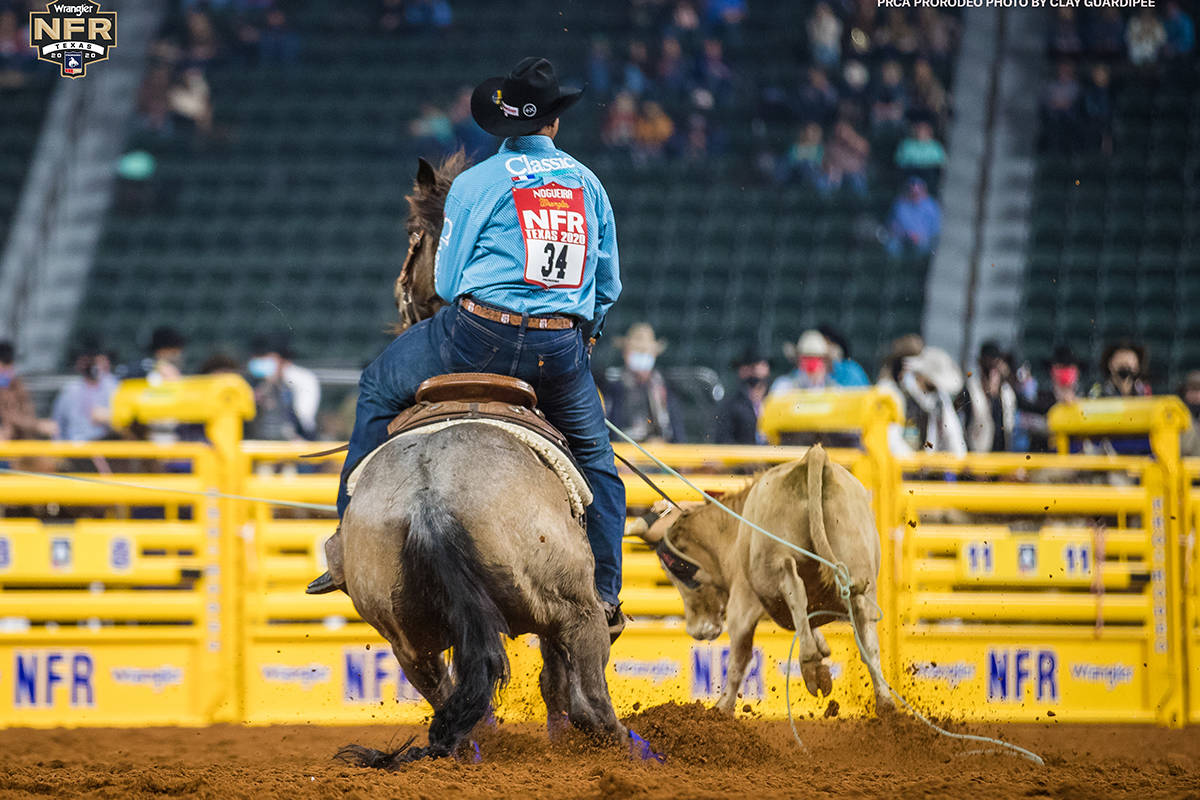 Junior Nogueira on Day 2 of the Wrangler National Finals Rodeo at Globe Life Field in Arlington ...
