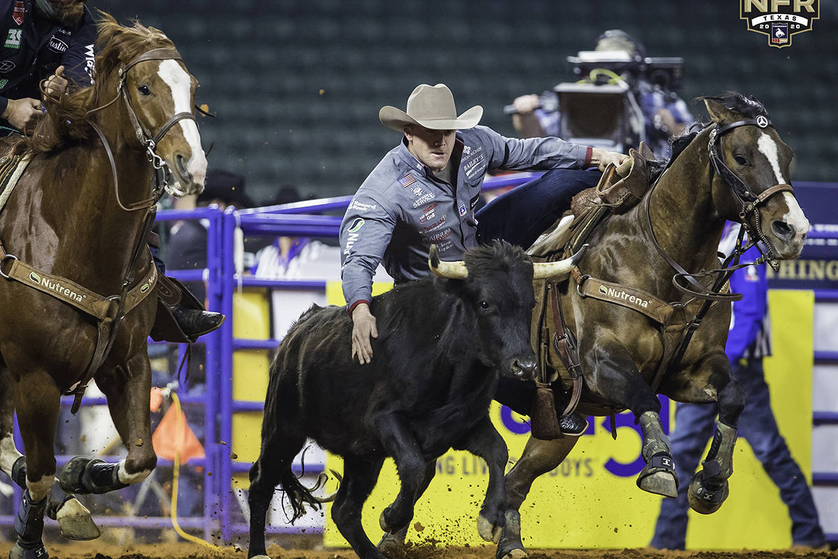 Dakota Eldridge on the second day of the Wrangler National Finals Rodeo at Globe Life Field in ...