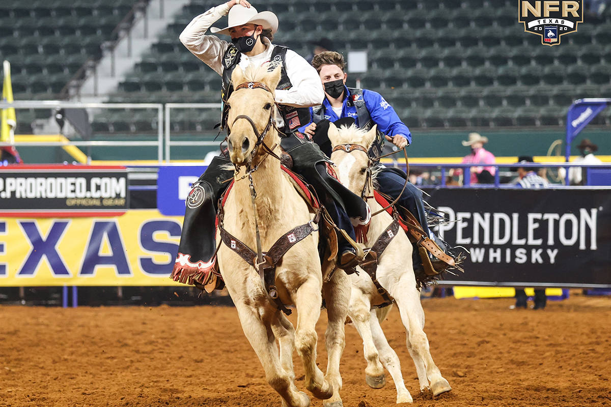 Lefty Holman on the second day of the Wrangler National Finals Rodeo at Globe Life Field in Arl ...
