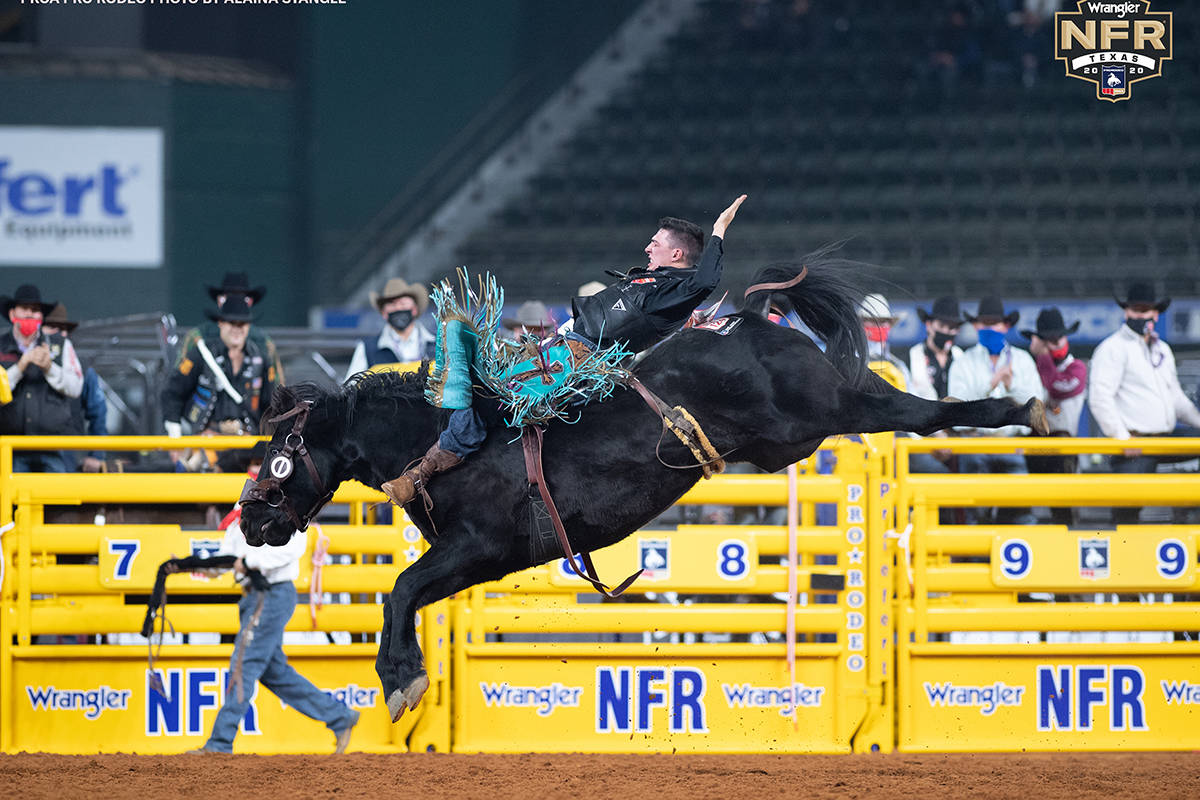 Jess Pope on the second day of the Wrangler National Finals Rodeo at Globe Life Field in Arling ...