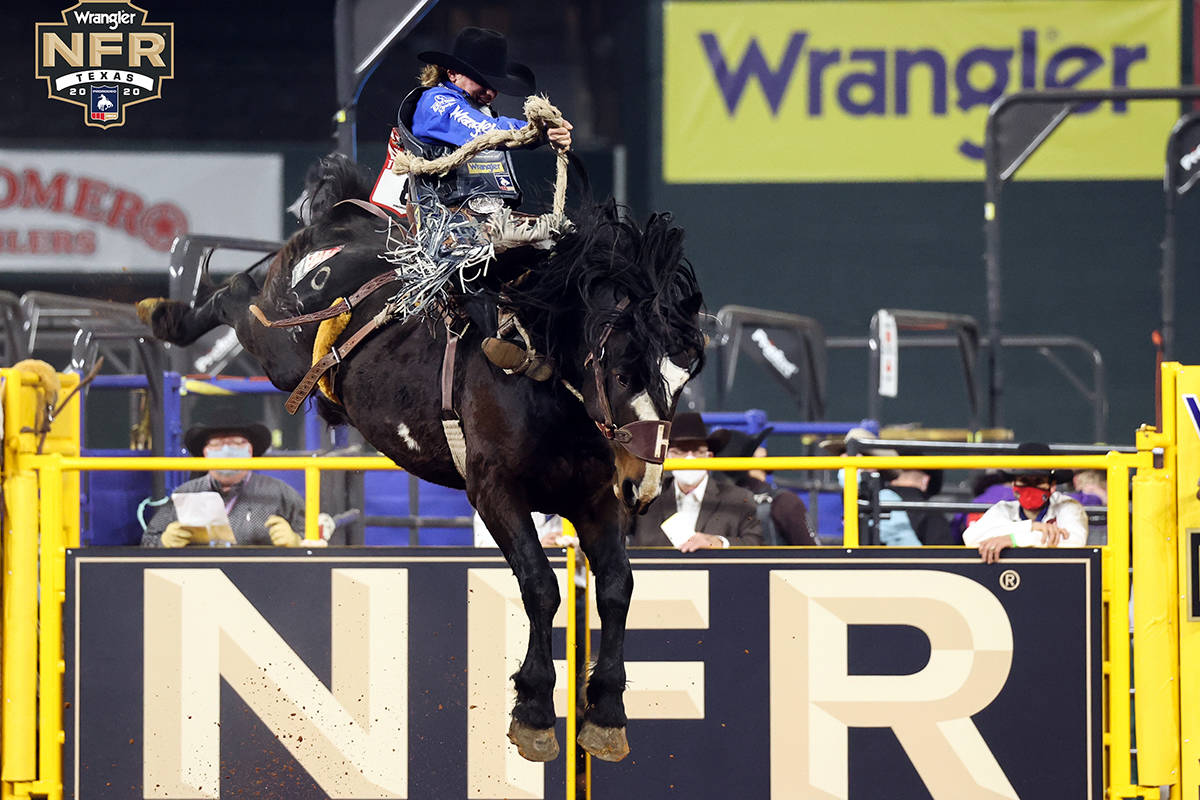Rusty Wright on Day 2 of the Wrangler National Finals Rodeo at Globe Life Field in Arlington, T ...