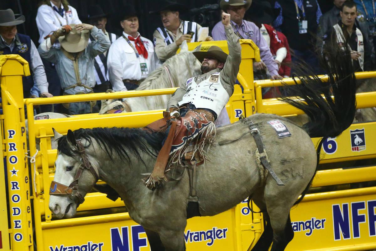 "Mason Clements of Springville, Utah rides ""Colorado Bulldog"" while competing in bareb ..."