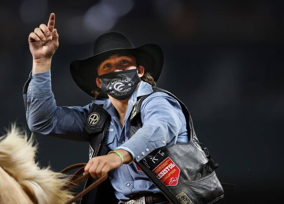 Colten Fritzlan performs during the 3rd go-round of the National Finals Rodeo in Arlington, Tex ...