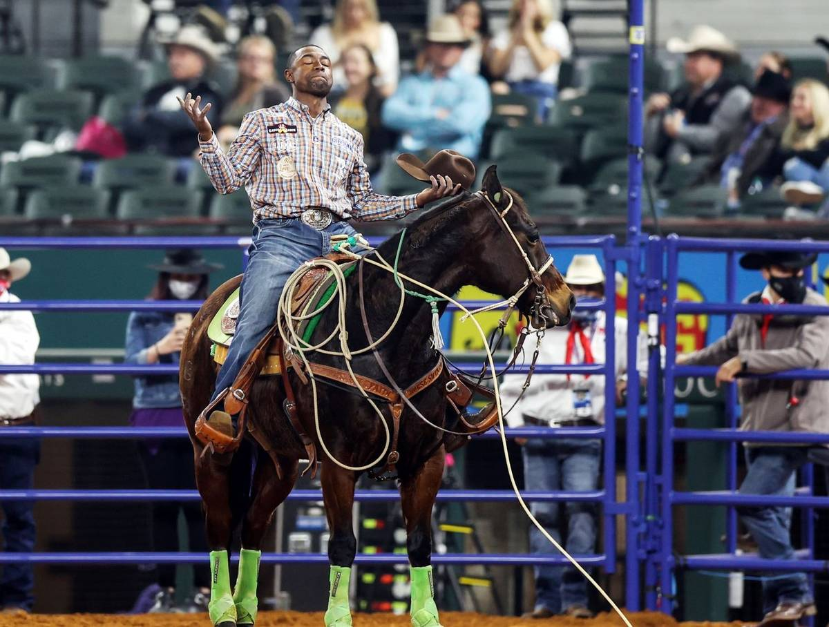 Cory Solomon is seen during the 3rd go-round of the National Finals Rodeo in Arlington, Texas, ...