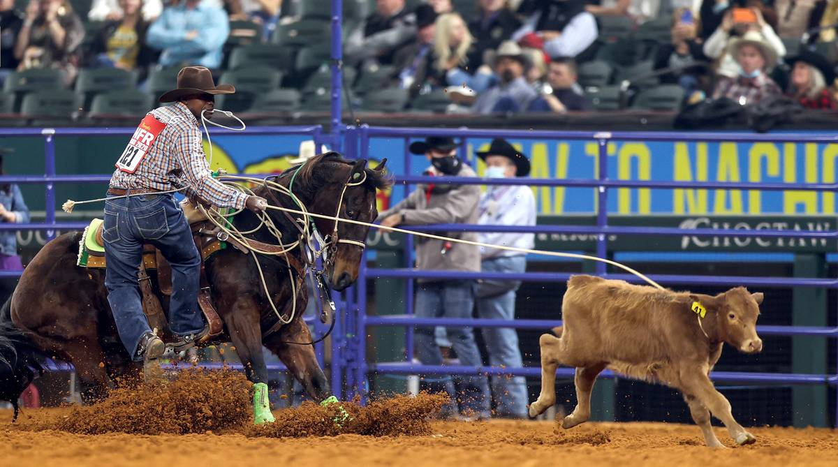 Cory Solomon performs during the 3rd go-round of the National Finals Rodeo in Arlington, Texas, ...