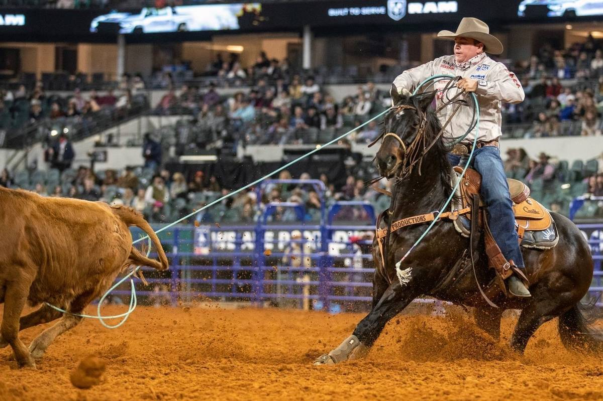 Travis Graves performs during the 3rd go-round of the National Finals Rodeo in Arlington, Texas ...