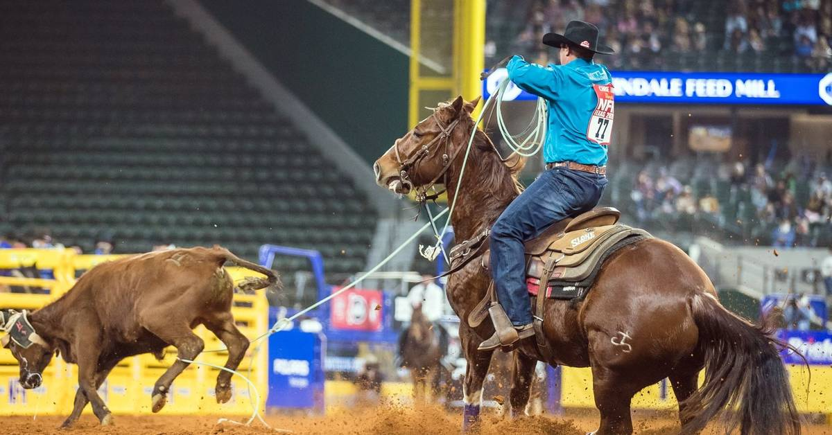 Chase Tryan performs during the 4th go-round of the National Finals Rodeo in Arlington, Texas, ...