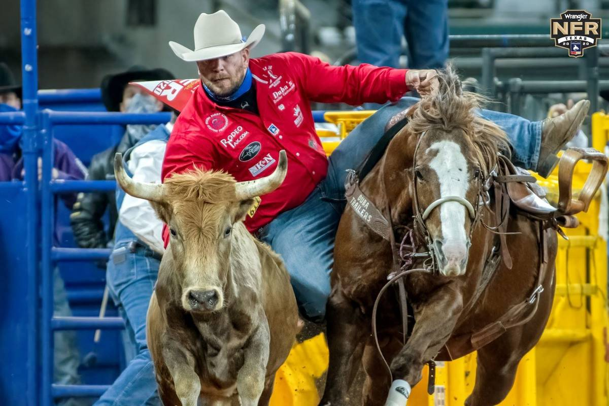Jacob Talley performs during the 4th go-round of the National Finals Rodeo in Arlington, Texas, ...