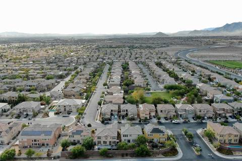 An aerial view of housing developments near FIron Mountain Road and North Skye Canyon Park Driv ...