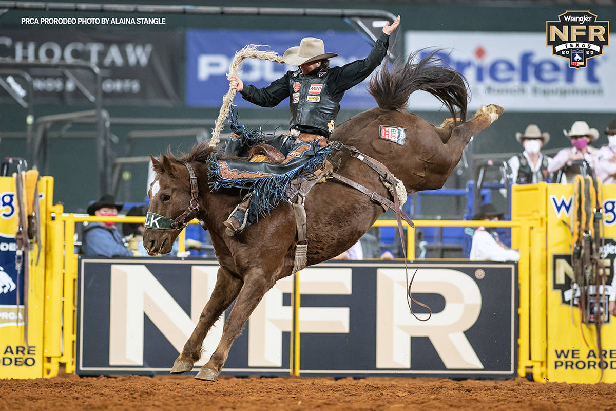 Wyatt Casper performs during the fifth go-round of the National Finals Rodeo in Arlington, Texa ...