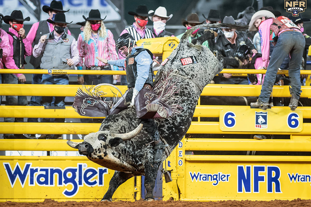 Ty Wallace performs during the fifth go-round of the National Finals Rodeo in Arlington, Texas, ...