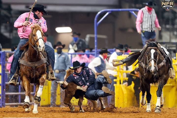 Jace Melvin performs during the fifth go-round of the National Finals Rodeo in Arlington, Texas ...