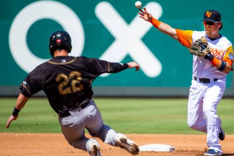 Las Vegas Aviators second baseman Trace Loehr (7, right) makes the out in the third inning on S ...