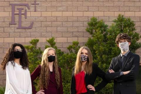 Sophomores Nikki Manukyan, McKenna Erwin, Elyssa Bahr and Mason DeVore, pictured from left to r ...