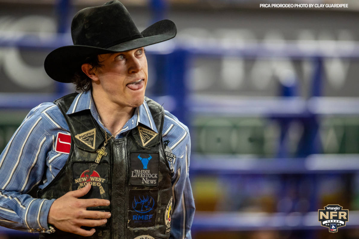 Saddle bronc rider Chase Brooks competes in the National Finals Rodeo. Photo courtesy of NFR media.