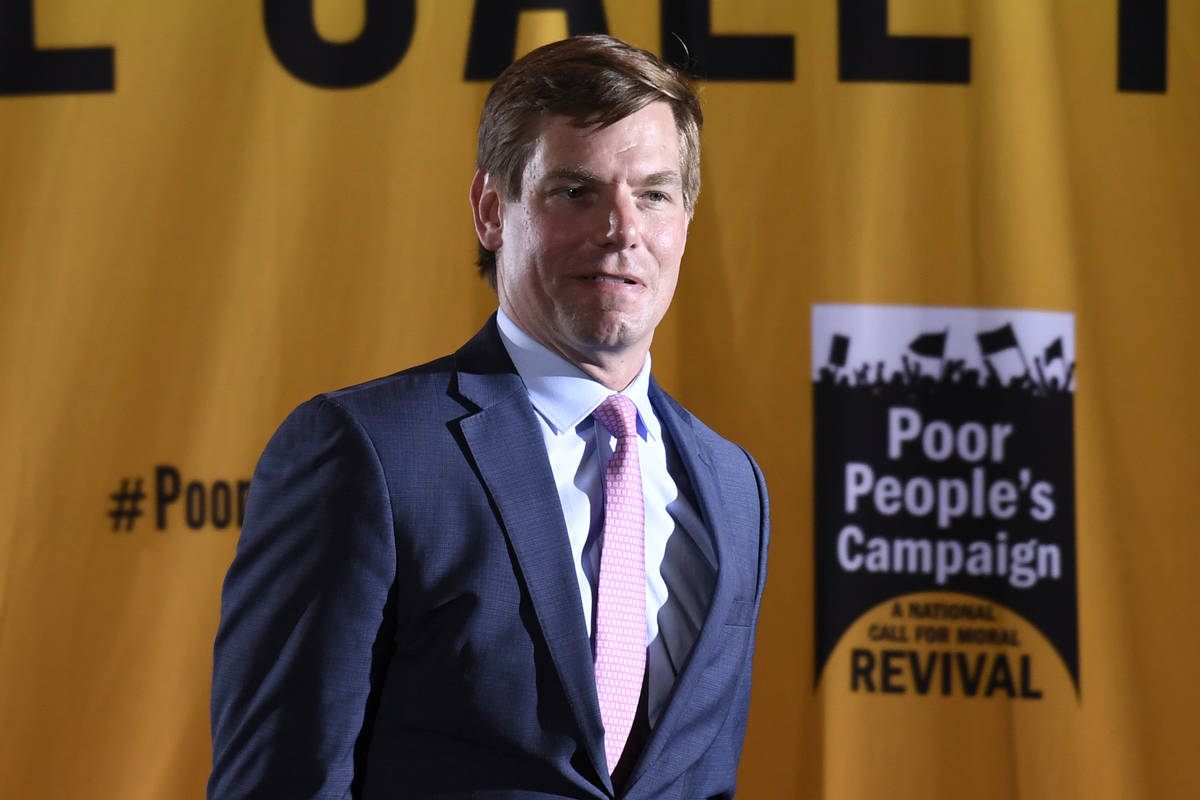 Rep. Eric Swalwell, D-Calif., speaks at the Poor People's Moral Action Congress presidential fo ...