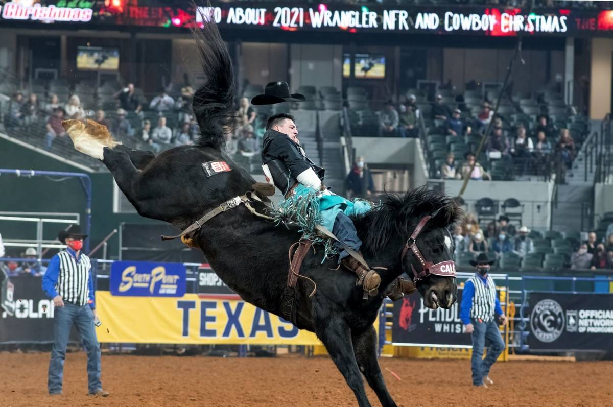 Jess Pope performs on Thursday, Dec. 10, 2020, on Day 8 of the Nationals Finals Rodeo in Arling ...