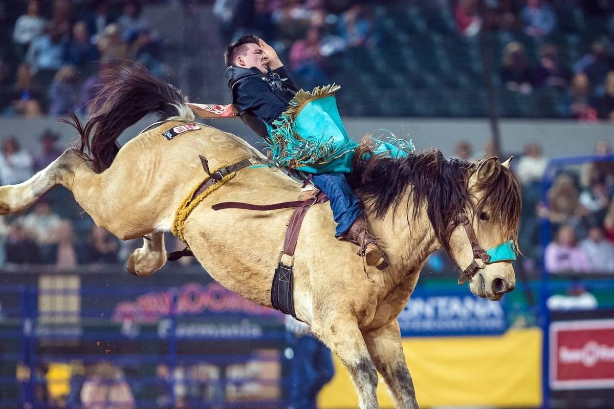 Jess Pope performs on Saturday, Dec. 12, 2020, on Day 10 of the Nationals Finals Rodeo in Arlin ...
