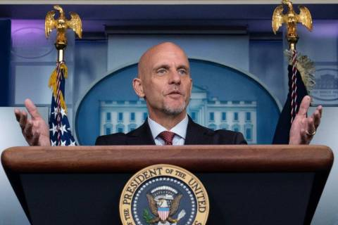 FDA commissioner Dr. Stephen Hahn speaks during a media briefing at the White House in Washingt ...
