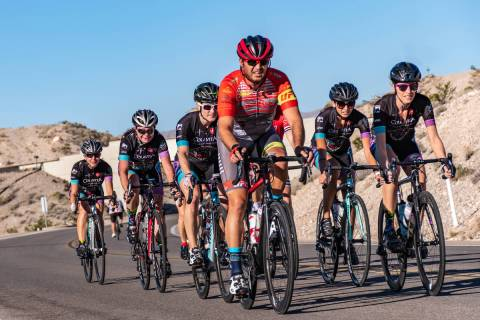 "Aksoy Ahmet leads a group of team riders on Las Vegas Boulevard South during the 2017 ""Three Fe ..."